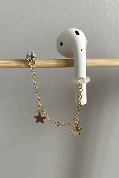 Hediye Dolabı Airpods Kulaklık Koruyucu Küpe Küçük Yıldız Gold