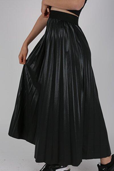 Mixray Deri Görünümlü Siyah Pileli Etek