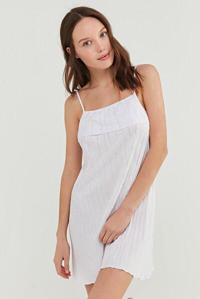 Penti Optik Beyaz Bridal Pleat Elbise