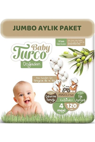 Baby Turco Doğadan Bebek Bezi 4 Beden - Numara Maxi 120 Adet Aylık Jumbo Paket 8 - 14 Kg