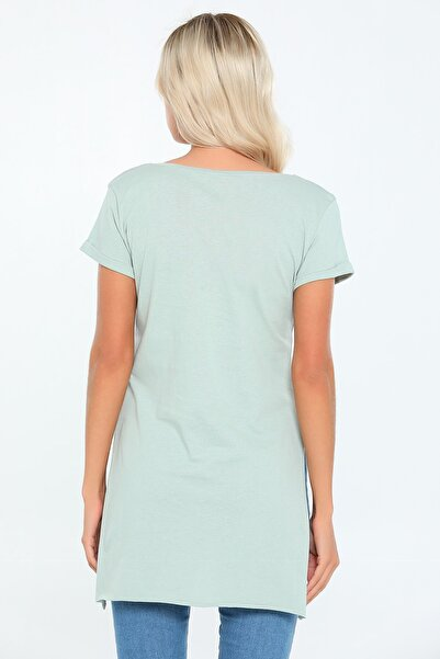 julude V Yaka Yanları Yarı Dikişsiz Kadın Tunik T-shirt