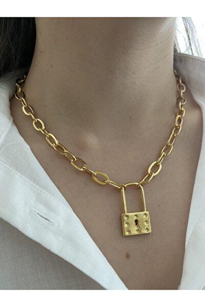 Flora Kadın  18k Altın Kaplama Kalın Zincir Kilit Kolye