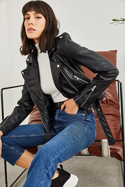 SORTEÈ Kadın Siyah Kolları Fermuarlı Deri Ceket