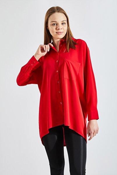 Zafoni Kadın Kırmızı Cepli Gömlek