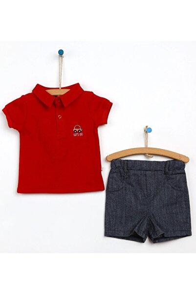 For My Baby Arabalı Kırmızı Nakışlı Polo Yaka 2'li Takım