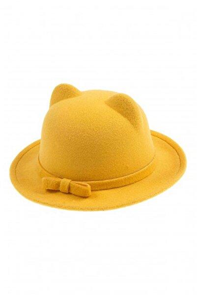 Bay Şapkacı Kız Çocuk Kulaklıklı Kaşe Fötr Şapka 5418 Sarı