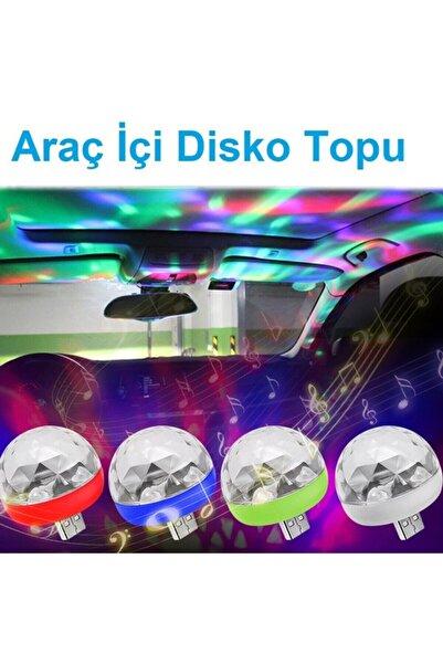 EROĞLU Auto Ampulance Sese Duyarlı Rgb Araç Içi Usb'li Disko Topu Mini Disko Lambası
