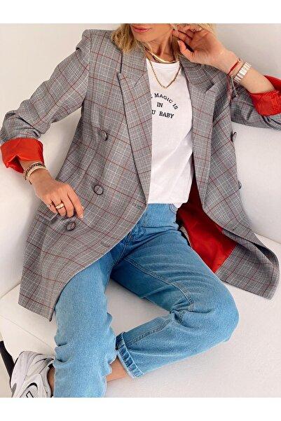 I Love Butik Gri-kırmızı Kot Düğmeli Şık Blezer Ceket