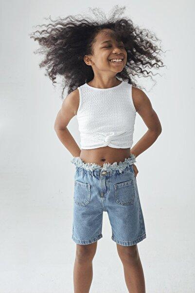 Tyess Kız Çocuk Beyaz Crop T-shirt