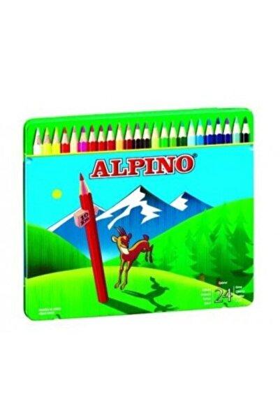 Alpıno Alpino Kuru Boya Kalemi 24 Renk Teneke Kutu