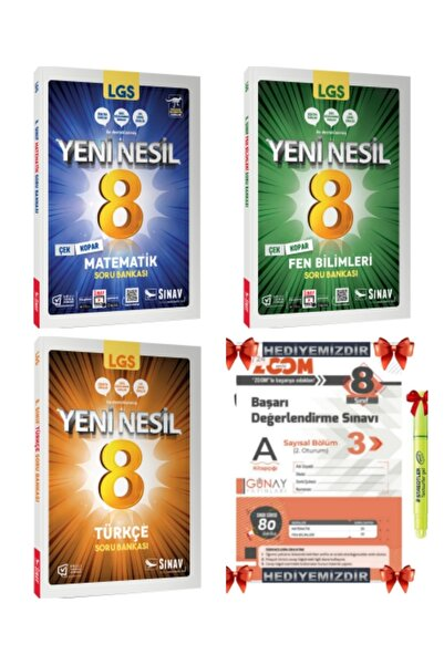 Sınav Yayınları 8. Sınıf Lgs Yeni Nesil Matematik + Fen Bilimleri + Türkçe Soru Bankası