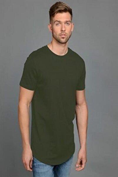 s Erkek Düz Haki Yeşil Renk Tişört 12113648