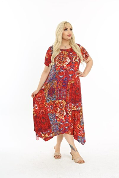 Mezura Kadın Kırmızı Yazlık Kısa Kol Dizaltı Asimetrik Penye Viskon Elbise