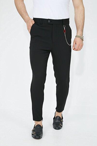 Fc Plus Siyah Paça Fermuarlı Likralı Slimfit Erkek Pantolon - Slım Fıt