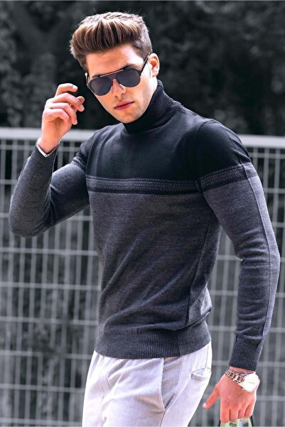 Madmext Erkek Siyah Renk Bloklu Balıkçı Yaka Kazak 4675