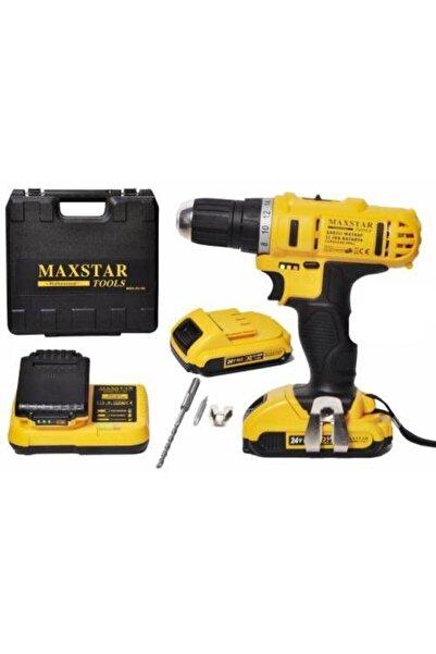 Maxstar Tools Turbo 24v5ah Darbeli Turbo X2 Li-ion Çift Akülü Profesyonel Vidalama Şarjlı Matkap