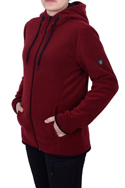 GHASSY CO. Kadın Bordo Kapşonlu Fermuarlı Polar Sweatshirt