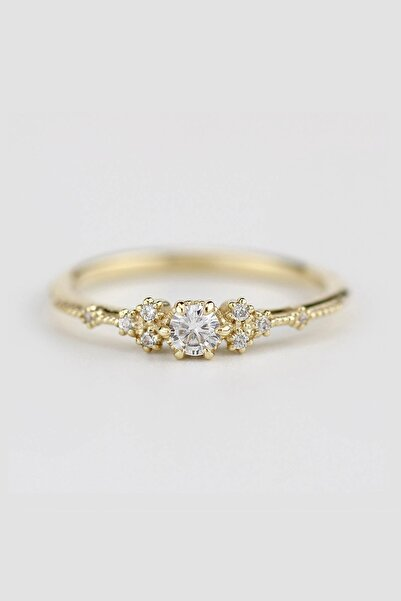 My Diamond Vintage Tasarim Pirlanta Yuzuk 14 Ayar Sari Altin Hrd Sertifikali
