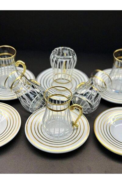 Esbeycam Çay Takımı 12 Parça Özel Tasarım Gold Kulplu