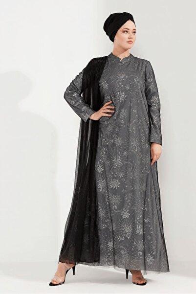 renklerevi Kadın Gümüş Siyah Nesrin Emniyetli Şifon Ekli Işıltılı Abiye