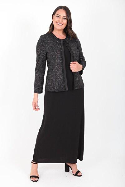 Ladies First Kadın Büyük Beden 3306 Siyah Gümüş Uzun Abiye Elbise