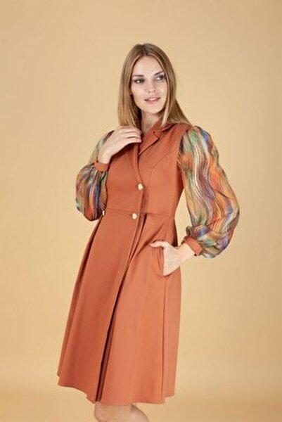 Kadın Turuncu Düğme Detay Kısa Elbise