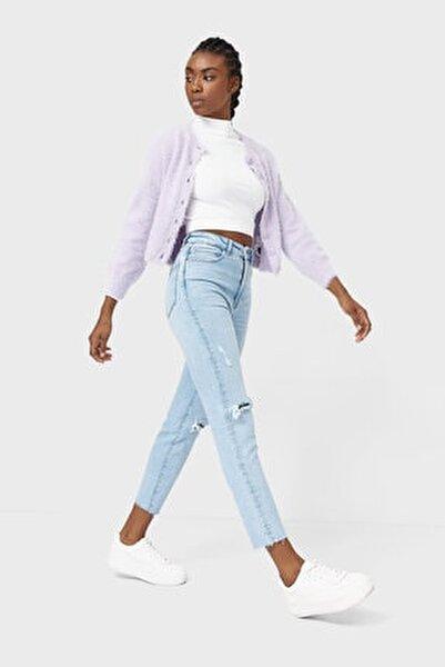 Kadın Açık Mavi Slim Fit Mom Jean 01465428