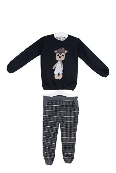 Aziz Bebe Erkek Çocuk Gri Ayıcık Baskılı Uzun Kollu Pijama Takımı Azz064381