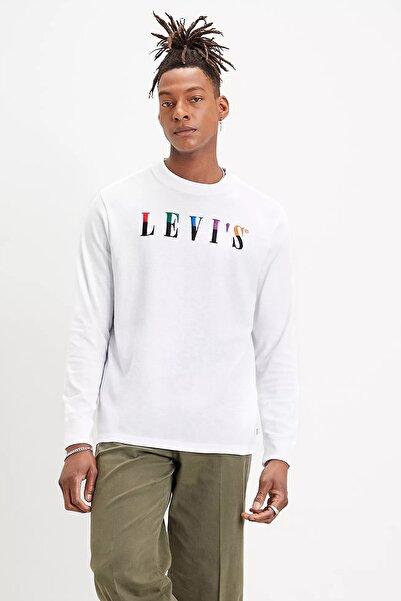 Levi's Erkek Beyaz Pamuklu Bisiklet Yaka Sweatshirt 86824