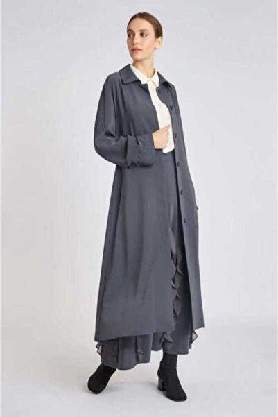Mimya Kadın Gri Düğmeli Uzun Ceket