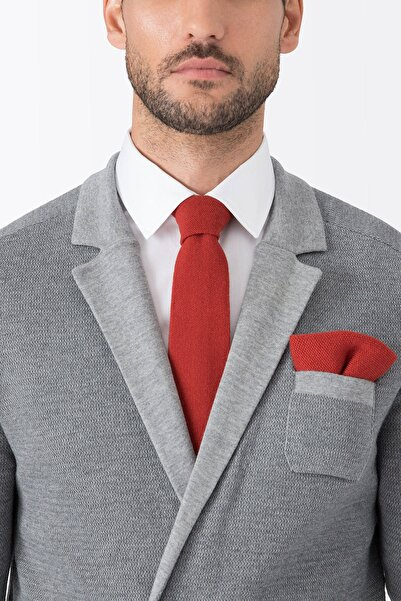 Hemington Erkek Açık Kırmızı Örgü Ceket Mendili