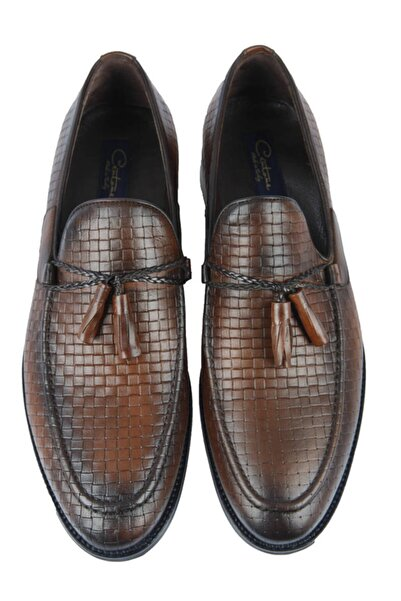 Centone Erkek Kahverengi Deri Casual Ayakkabı 18-5051