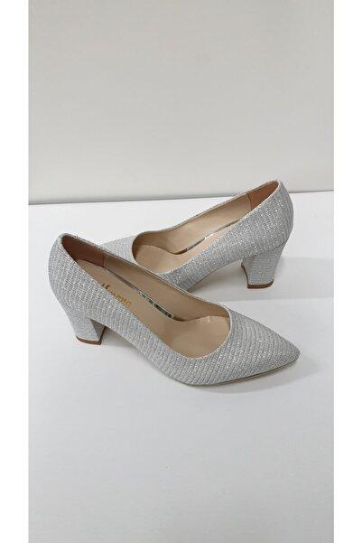 Almera Kadın Gümüş Çizgili Klasik Topuklu Ayakkabı