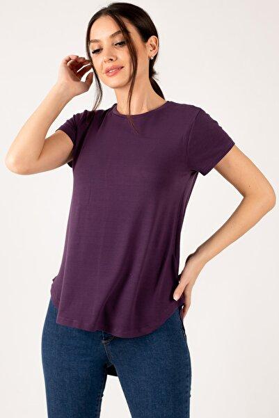 armonika Kadın Mürdüm Önü Kısa Arkası Uzun Kısa Kol Salaş T-Shirt ARM-21Y042004