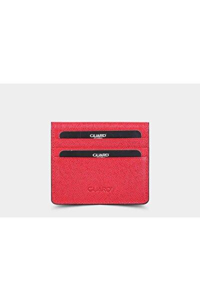 GUARD Kırmızı Saffiano Patlı Tasarım Deri Kartlık