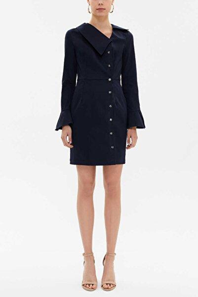 SOCIETA Kadın Lacivert Düğmeli Asimetrik Yaka Dar Kesim Elbise