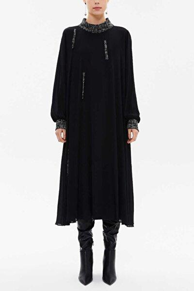SOCIETA - Kırmızı Biyeli Detaylı Elbise 93054 Siyah