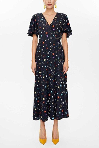 SOCIETA Kadın Antrasit V Yaka Anvelop Midi Elbise 93207