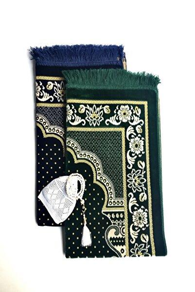 Kardelen Düğün,nişan Bohçaları Için Lüks Dodya Kadife Seccade(Lacivert,yeşil),tesbih,takke