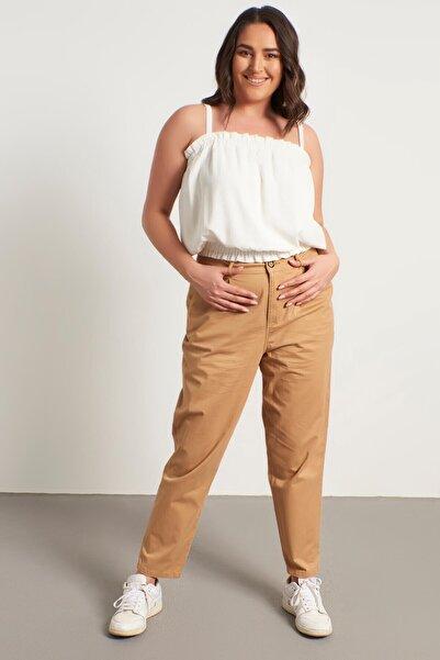 MYLİNE Kadın Bej Pileli Slouchy Pantolon