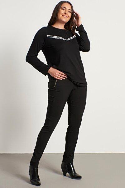MYLİNE Kadın Siyah Fermuar Detaylı Pantolon