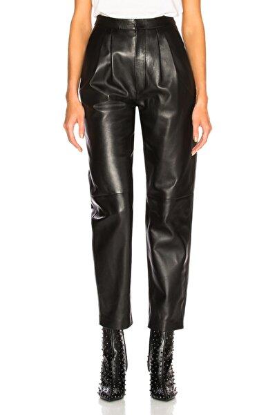 By Umut Design Kadın Siyah Pileli Önden Fermuarlı Kemerli Deri Pantolon