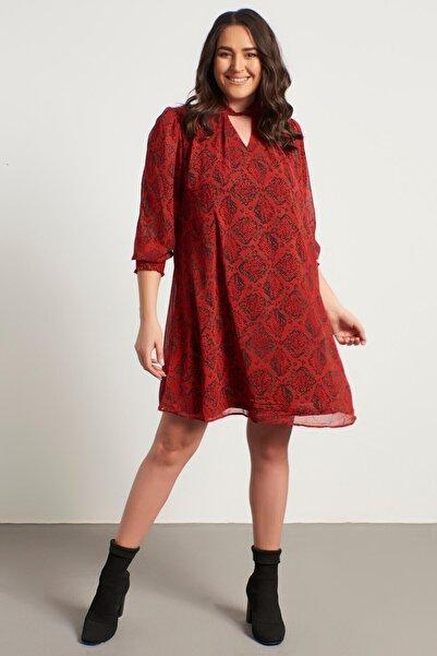 MYLİNE Kadın Kırmızı Yaka Detaylı Gipeli Şifon Elbise