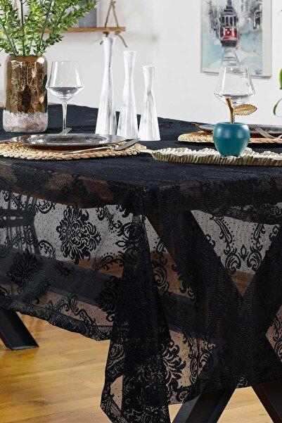 Elart Siyah Güpürlü Masa Örtüsü  230x155
