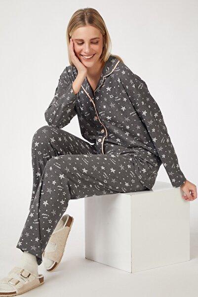 Happiness İst. Kadın Antrasit Desenli Pamuklu Pijama Takımı GL00036