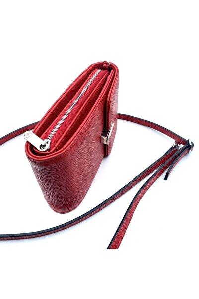 Eminsa Kırmızı Deri Telefon Omuz Çantası