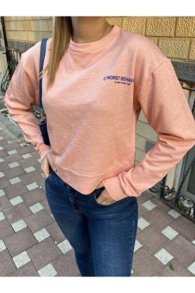 NİCE Kadın Pembe Yazı Detaylı 2 İplik Sweatshirt