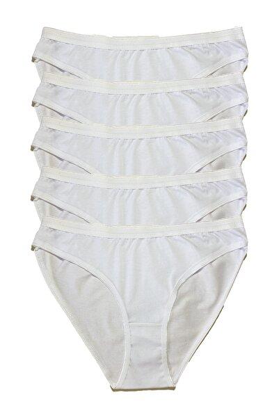 Tutku Kadın Beyaz Penye Bikini 5 Li Külot