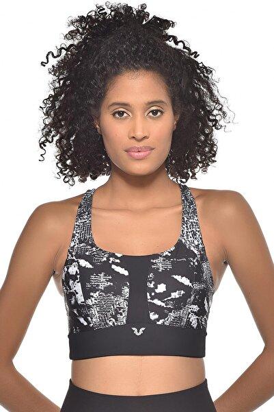 bilcee Kadın Siyah Desenli Destekli Sporcu Sütyeni-bra Gw-9200