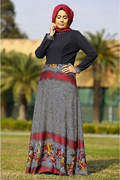 renklerevi Kadın  Lacivert Nesrin Emniyetli Desenli Elbise